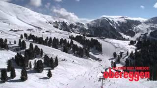 Die schönsten Flugaufnahmen Winter in den Dolomiten, Obereggen. Skiurlaub in Südtirol, Italien