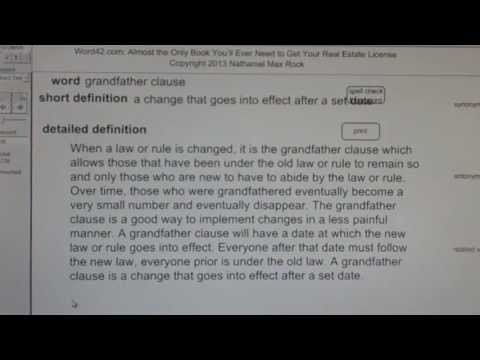 grandfather clause CA Real Estate License Exam Top Pass Words VocabUBee.com