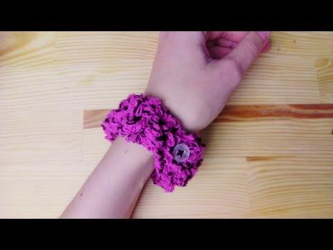 Armband mit Knopf häkeln lernen für Linkshänder