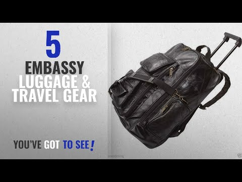 Top 10 Embassy Luggage & Travel Gear [2018]: Black 19'' Leather Rolling Trolley Backpack Wheeled