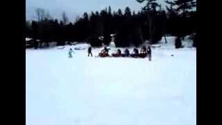 7. Snowmobile Drag Race Yamaha Apex 1000 vs Two Yamaha 600, Polaris 600 and an Artic Cat 600!!!!!