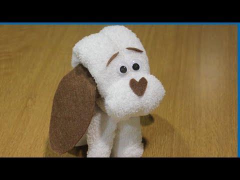 animales de toalla - Con fieltro y una toalla realizamos un perrito ideal para tartas de pañales, bautizos, baby showers o para que juegue nuestro bebe (si es para el bebe mejor ...