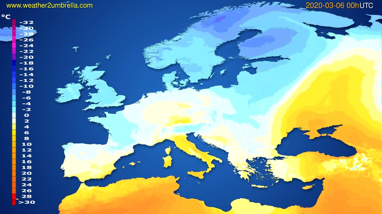 Temperature forecast Europe // modelrun: 00h UTC 2020-03-05