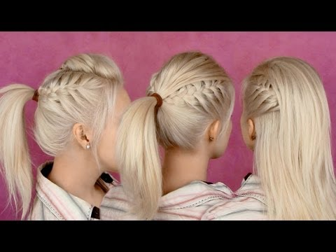 Hairstyles for party and everyday: braided half updo and ponytail hair tutorial