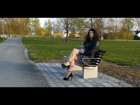 Jenny Crossdresser - High heels, mini skirt and leatherjacket