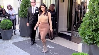 Kim Kardashian wearing all camel clothes in Paris
