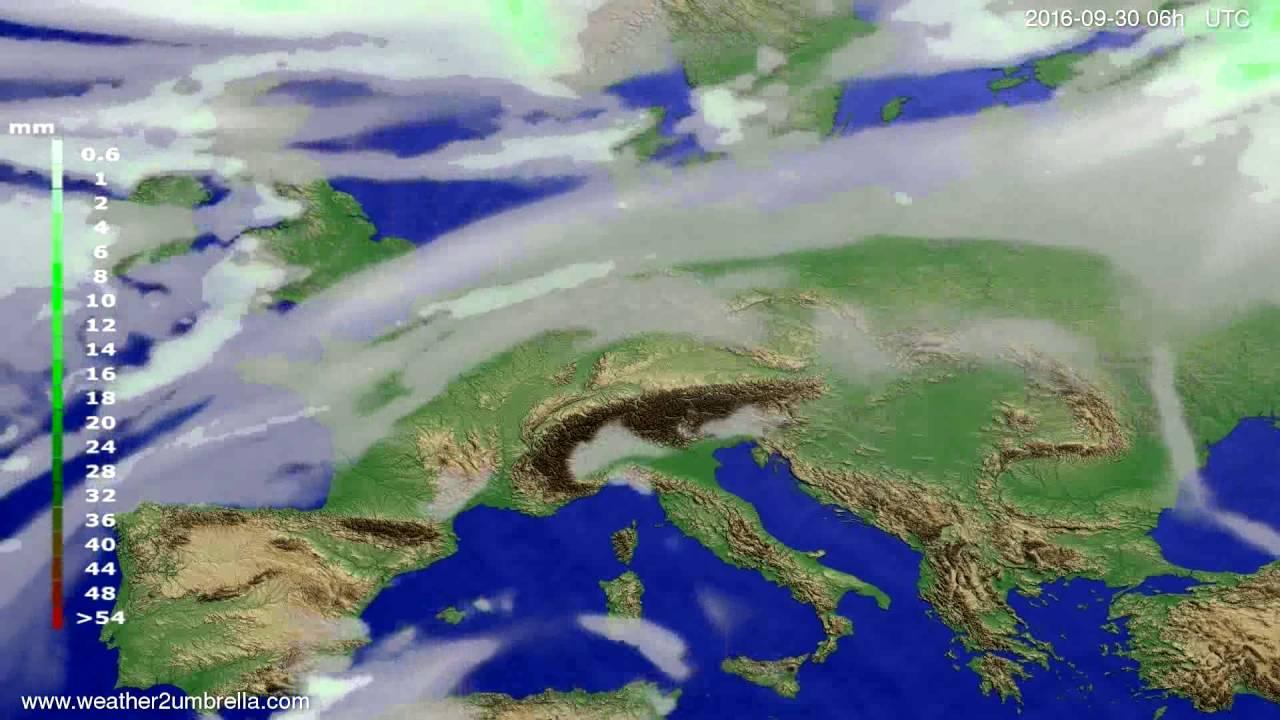 Precipitation forecast Europe 2016-09-27
