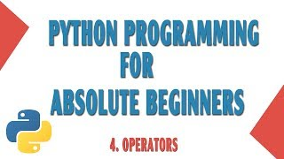 Learn Python programming for absolute beginners.Part 4------ Operators-------In this video you will learn about the operators used in python.If you have any problems, let me know in the comment section below.GitHub: https://github.com/onthirTwitter: @techinov22