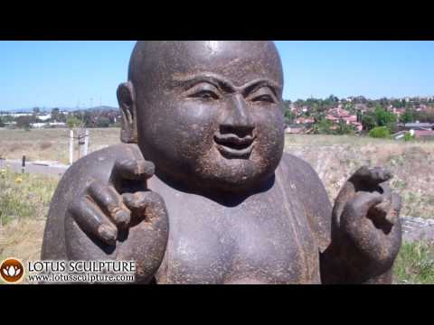SOLD Stone Kneeling Fat & Happy Buddha 28