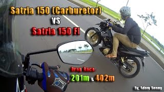 HOT!!! Satria 150 Fi VS Satria FU (Carburetor)! Drag Race on 201m and 402m! By. Adam Benny Video