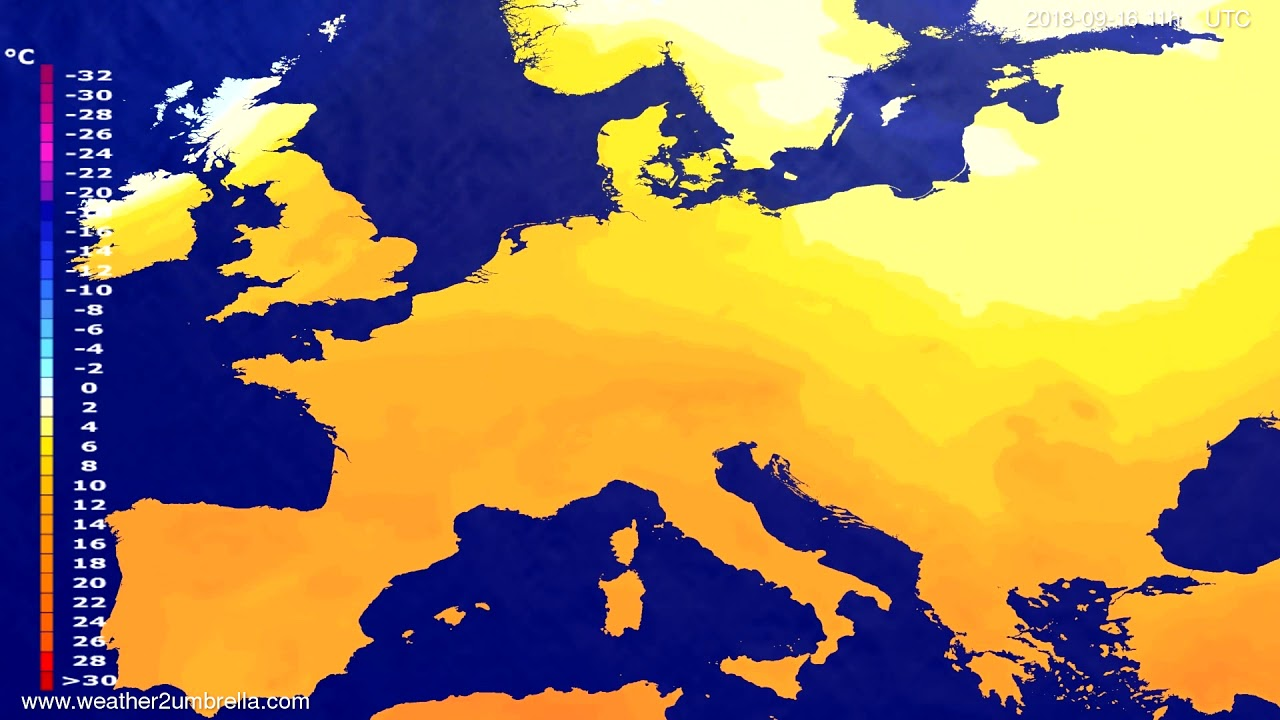 Temperature forecast Europe 2018-09-12