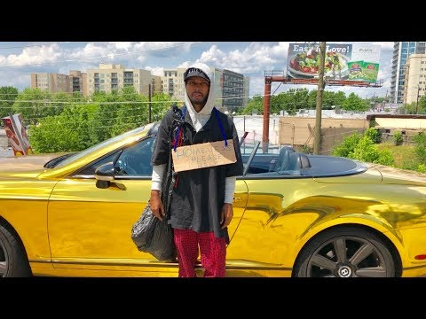 HOMELESS in GOLD BENTLEY Gold Digger Prank Social Experiment