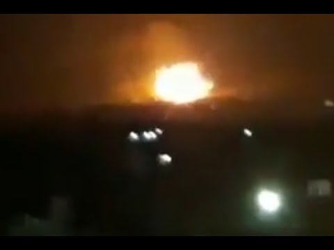 Possible missile attack on Syrian military base in Hama province (видео)