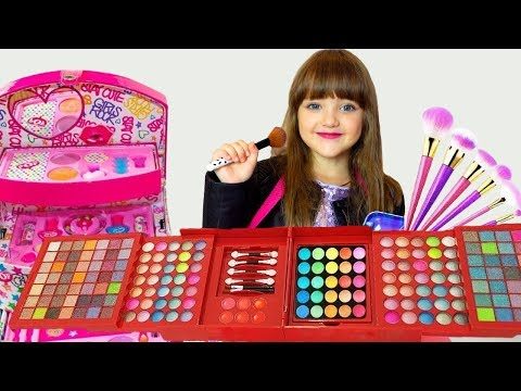 Ksysha VS Ksenia plays with make up toys for girls and Dress