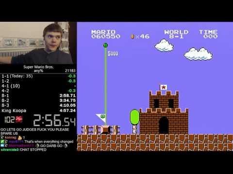 (4:56.878) Super Mario Bros. any% speedrun *Former World Record* (видео)