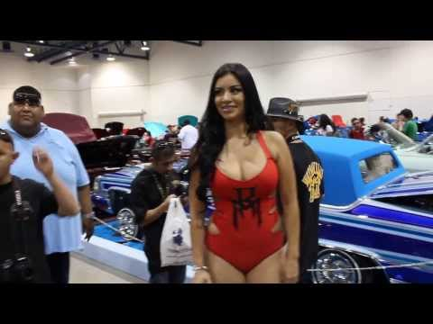 bad latina model at lowrider car show las vegas