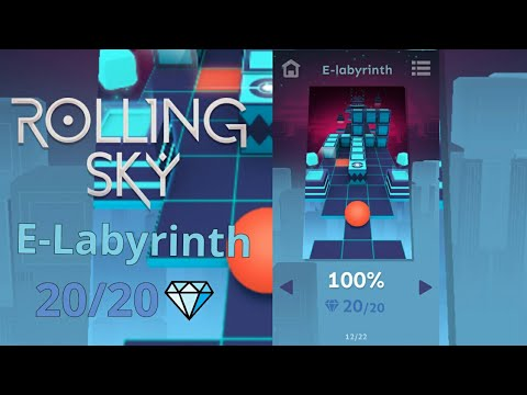 Rolling Sky - Level 9 - E-Labyrinth - 100% Complete, All Gems ! ( Android ) (видео)