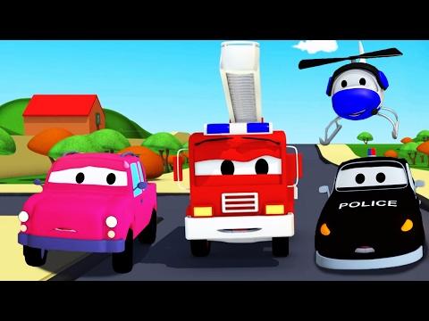 Video La Super Patrulla: camión de bomberos y patrulla de policía en La Camioneta perdida en Auto City download in MP3, 3GP, MP4, WEBM, AVI, FLV January 2017