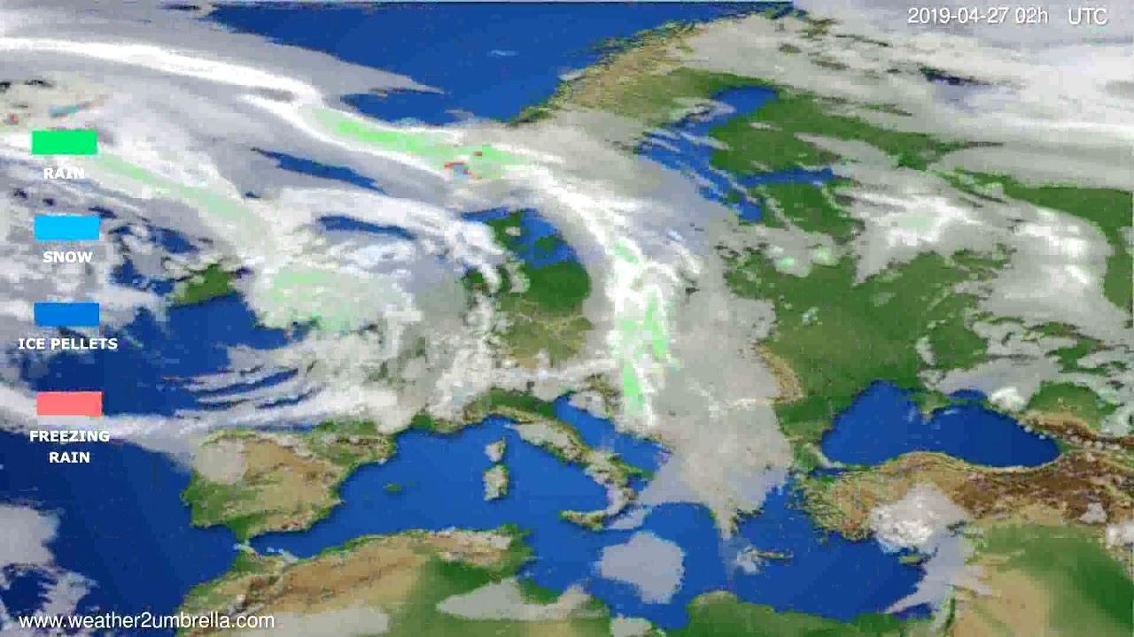Precipitation forecast Europe // modelrun: 12h UTC 2019-04-24