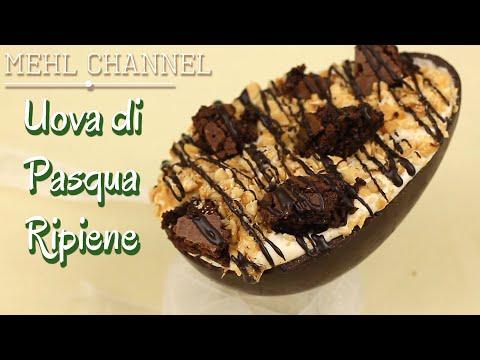 uova di cioccolata ripiene con brownies e crema alla nocciola - ricetta