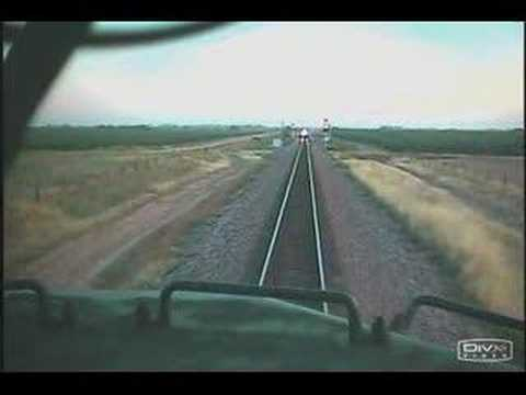 Head on train collision, Engineer jumps from train moments before impact.