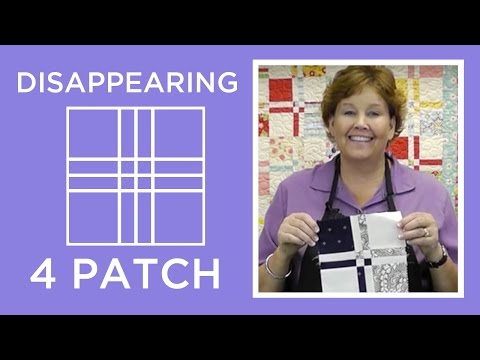 patch - http://missouriquiltco.com -- Jenny Doan shares the awesome, but easy Disappearing 4 Patch technique using charm squares (5