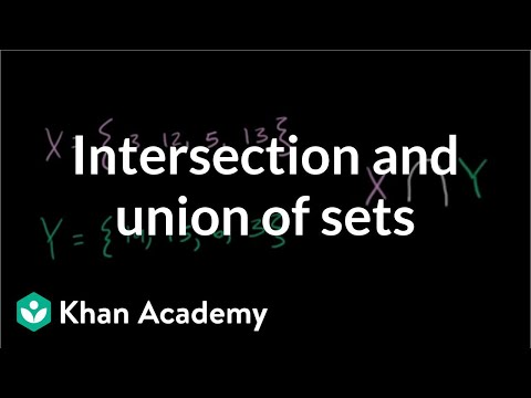 Intersection And Union Of Sets Video Khan Academy