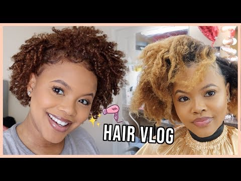 Hair color - Get My Natural Hair Done with Me  New Color, Cut + Style  Hair Vlog