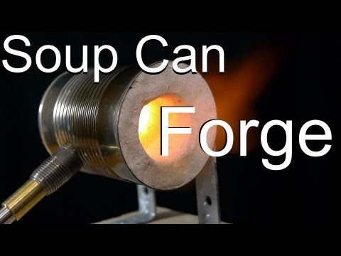 make - How I made a knife with this forge: http://youtu.be/g_teUu22sGQ This video shows how to make a simple and inexpensive tabletop forge out of a soup can with a...