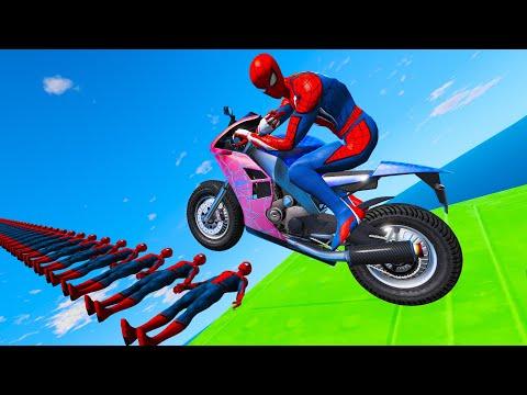 Spidermen Bridge Ramps Black Panther Captain America Superbike and Supercars