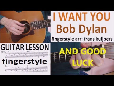 I WANT YOU - BOB DYLAN fingerstyle RAGTIME VERSION - GUITAR LESSON