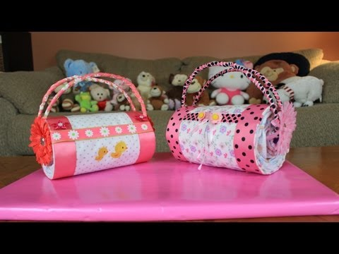 diaper - Another quick and easy Diaper Cake idea by Thom, a Diaper Cake Purse. This is one of the easier Diaper Cakes to make and does not need a lot of items to make...