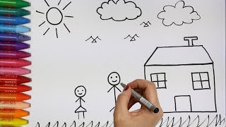 Cara menggambar rumah dan keluarga - Cara Menggambar dan Mewarnai TV Anak