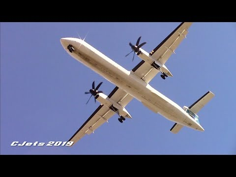 Westjet Encore Dash 8-q400 Windy Landing At Edmonton Int'l Airport