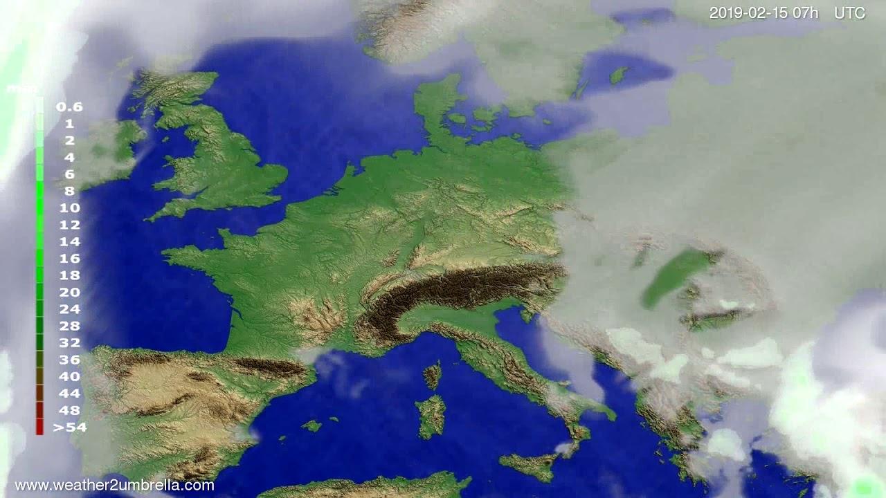 Precipitation forecast Europe 2019-02-13