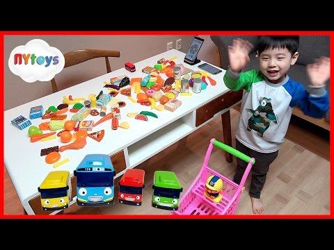 120개 음식 장보기 대결 꼬마버스 타요 자동차 뽀로로 카트 로 제한 시간내에 정해진 물건 담기 장난감 놀이 뉴욕이랑 놀자 NY Toys