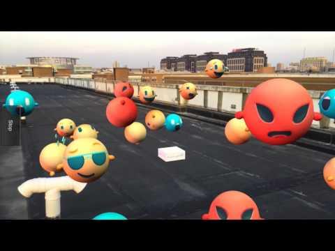 Cute emoji  augmented reality EasyAR SLAM-EasyAR