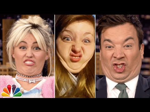 Tonight Show Funny Face Off with Miley Cyrus