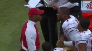 I do not own this footage. Troy Smith meltdown on sidelines after INT--with Teddy Ginn. Tags:Troy Smith,Troy Smith upset,Troy Smith meltdown,Troy Smith yelling at Mike Singletary,Troy Smith argument with MIke Singletary on sidelines,St.Louis Rams,San Fransisco 49ers,2010, quarterback yelling at coach, video,Troy Smith getting into it with Mike Singletary, Ted Ginn shoves towel into Troy Smith's face, Troy Smith and Mike Singletary get into it, Mike Singletary and Troy Smith,Troy Smith sideline blow up,   with Mike Singletary, Mike Singletary Troy Smith , Troy Smith Mike Singletary, Troy Smith argument with Mike Singletary, verbal argument , Troy Smith and Mije Singletary fight