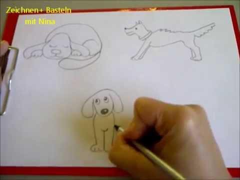 Hunde malen. Comic-Hunde in 3 verschiedenen Positionen zeichnen (1)