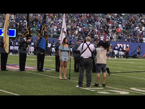 Brianna Paradiso - National Anthem (NY Giants vs. Cleveland Browns 8/9/18)