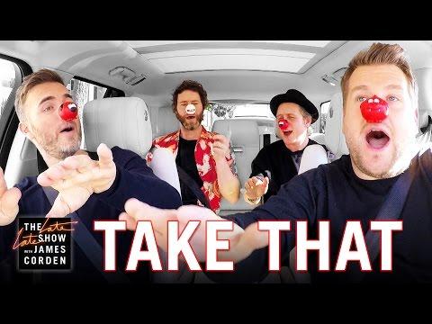 جيمس كوردان يدعو أعضاء فريق Take That لجولة موسيقية في سيارته