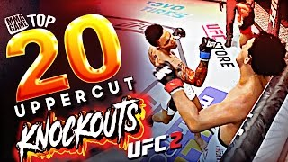 This Video is the top 20 uppercut knockouts submitted from the EA Sports UFC 2 community.  Let me know what kind of knockout video you want to see next? SUBMIT YOUR Clips HERE - https://goo.gl/sxcg1yKO THE LIKE BUTTON!Head KICK that BELL notification button! FOLLOW ME ON GOOGLE PLUS - https://plus.google.com/1064842490489...Please Like and share MMA FAM! ►I Stream this game LIVE TWITCH TV Here http://www.twitch.tv/mmagame★I have twitter Follow Me On Twitter https://twitter.com/#!/MMAGAME1★EA Sports UFC 2 is a mixed martial arts fighting video game developed by EA Canada, published by Electronic Arts for the PlayStation 4 and Xbox One. It is based on the Ultimate Fighting Championship (UFC) brand.