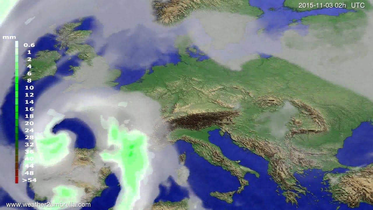 Precipitation forecast Europe 2015-10-30