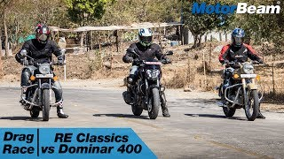 https://www.motorbeam.com puts the Classic series of Royal Enfield bikes in a drag race against the Bajaj Dominar 400. The Classic 350 is the top selling bike in the 200cc plus segment while the Dominar 400 is the latest bike to be launched, featuring modern technology and a more powerful engine than both the Classic 350 and Classic 500.The Royal Enfield Classic 500 Desert Storm is the flagship Classic 500 variant along with the Classic Chrome, it only gets cosmetic tweaks but lacks the performance expected from a 500cc motorcycle due to the use of old school technology like 2-valves, long stroke engine and a lack of a counter balancer which leads to vibrations.Become a #MotorBeamer: http://bit.ly/MotorBeamerVisit our website: https://www.motorbeam.comLike us on Facebook: https://www.facebook.com/MotorBeamFollow us on Instagram: http://www.instagram.com/MotorBeamAdd us on Snapchat: https://www.snapchat.com/add/MotorBeamFollow us on Twitter: https://www.twitter.com/MotorBeamCheck us out on Pinterest: https://www.pinterest.com/motorbeam+1 us on Google Plus: https://plus.google.com/+motorbeam