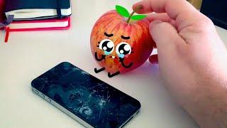 Manzana estrena móvil Samsung! 🍎 |  Cutefood Doodles