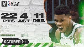 Giannis Antetokounmpo Full Highlights vs Utah Jazz (2019.10.09) - 22 Pts, 11 Reb, 4 Ast!