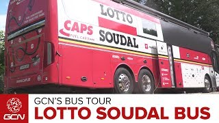 Dan steps inside the new team bus of Lotto Soudal, the team of German sprinter supreme André Greipel. Subscribe to GCN: http://gcn.eu/SubscribeToGCNGet exclusive GCN gear in the GCN shop! http://gcn.eu/ioLet us know what you think of the Lotto Soudal team bus in the comments below 👇Ex-Professional cyclist Dan Lloyd takes a good look around the team bus of 🇧🇪 Belgian squad Lotto Soudal at the 2017 Tour de France 🇫🇷.The riders love the new TV as well as colour co-ordinated seats that swivel and recline including personalised headrests.There are plenty of charging sockets for the riders to power up their devices. A cupboard houses plenty of different nutrition products too, so riders can grab exactly what they need as well as lots of cans of soft drink.The kitchen area has nutritional information for each rider and race type. Not forgetting muesli, rice cakes, Haribo, nougat, dried vegetables, nuts and more! Oh, and also the all important coffee machine.A custom storage location for race-radios allows the riders to ensure that they are never misplaced.There are two toilets on-board the bus too, as well as a two-person shower.In the rear of the bus there are two beds as well as a set of weighing scales and first-aid supplies.If you'd like to contribute captions and video info in your language, here's the link 👍  http://gcn.eu/ipWatch more on GCN...How To Pack For The Tour De France With Adam Hansen, 'Mr Grand Tours'  📹  http://gcn.eu/29aRiKoWhat Difference Do Motorbikes Make In Bike Races?  GCN Does Science  📹  http://gcn.eu/h4Photos: © Bettiniphoto / http://www.bettiniphoto.net/ & ©Tim De Waele / http://www.tdwsport.comAbout GCN:The Global Cycling Network puts you in the centre of the action: from the iconic climbs of Alpe D'Huez and Mont Ventoux to the cobbles of Flanders, everywhere there is road or pavé, world-class racing and pro riders, we will be there bringing you action, analysis and unparalleled access every week, every month, and every year. We show you how to be a better cyclist with our bike maintenance videos, tips for improving your cycling, cycling top tens, and not forgetting the weekly GCN Show. Join us on YouTube's biggest and best cycling channel to get closer to the action and improve your riding!Welcome to the Global Cycling Network  Inside cyclingThanks to our sponsors:Alta Badia:http://gcn.eu/AltaBadia- // Maratona Dles Dolomites: http://gcn.eu/MaratonaDlesDolomites-Assos of Switzerland: http://gcn.eu/AssosKASK helmets: http://gcn.eu/KASKfi'zi:k shoes and saddles: http://gcn.eu/fizikshoes and http://gcn.eu/fiziksaddlesTopeak tools: http://gcn.eu/TopeakCanyon bikes: http://gcn.eu/-CanyonQuarq: http://gcn.eu/QuarqDT Swiss: http://gcn.eu/DtSwissScience in Sport: http://gcn.eu/SiSOrbea bikes: http://gcn.eu/OrbeaTrek Bicycles: http://gcn.eu/-TrekVision wheels: http://gcn.eu/VisionZipp wheels: http://gcn.eu/Zipppower2max: http://gcn.eu/power2maxWahoo Fitness: http://gcn.eu/Wahoo-Fitness Park Tool: http://gcn.eu/-parktoolContinental tyres: http://gcn.eu/continental-Camelbak: http://gcn.eu/camelbak-YouTube Channel - http://gcn.eu/gcnYTFacebook - http://gcn.eu/gcnFbGoogle+ - http://gcn.eu/gcnGPlusTwitter - http://gcn.eu/gcnTWLeave us a comment below!