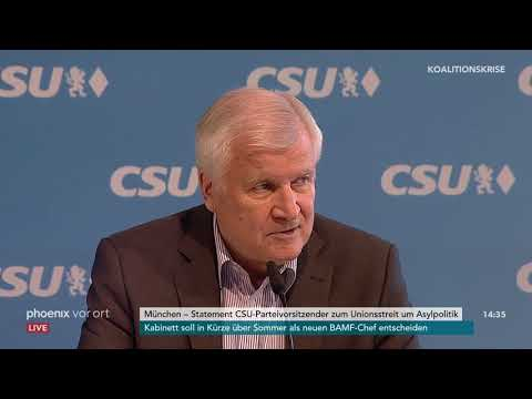 Horst Seehofer (CSU): Pressekonferenz zum Unionsstrei ...