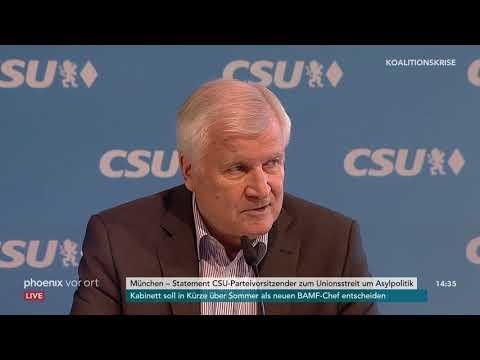 Horst Seehofer (CSU): Pressekonferenz zum Unionsstr ...